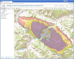 Geology Furlo Gorges in ArcGIS.com